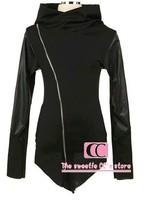 Fashion jackets for men / Oblique zipper with a hood Men sweatshirt /  PU leather sleeves black hoodie S-M-L-XL-XXL-3XL