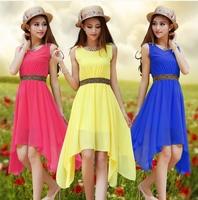 2014 Summer 8 color fashion chiffon one-piece dress ,plus size S -- XXL asymmetrial tank rivet dress,sexy dress for women