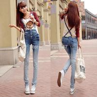 Free shipping Denim bib pants women's gradient color slim breasted jeans skinny pants trousers