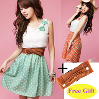 2014 New Korean Fashion Women's Ladies Polka Dot Dress Sweet Lovely Mini Dress Chiffon + Lace Top Tank Vest Dress (With Belt)