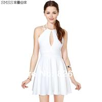 New 2014 fashion summer sexy women dress sleeveless halter-neck one-piece party dresses brief white women clothing plus size