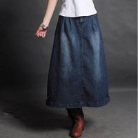 Women Casual Summer Spring Fashion New Slim Plus size Denim Design Jean Long Skirt Blue