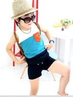 2014 child small 100% big boy summer cotton t-shirt set summer short-sleeve male child
