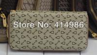 HOT  Free shipping 2014 fashion new long design zipper wallets for women & men classic beige purse 131121