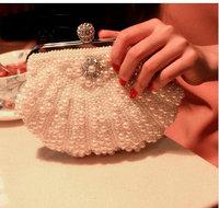 High quality shell pearl bag evening banquet bridal day clutch, party chain bag shoulder day clutch women's handbag
