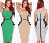 2014 New Arrival Modest Summer Sheath Stretched Women Dress Elegant Patchwork Full Back Zipper Knee Length Party Work Dress S-XL