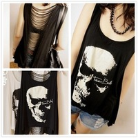 2014 new fashion skull print loose irregular bottoming shirt back hollow vest for women novelty summer tops for women