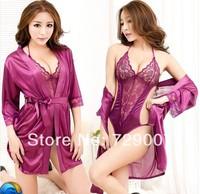 Wholesale lace transparent sexy nightgown women's kimono suit household temptation lingerie sleepwear jumpsuits
