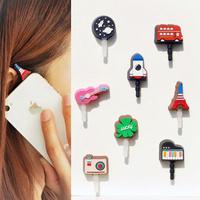 Cartoon Style Happy Music instrument Travel Earphones  jack Phone Stopple Ear Cap Dust Plug phone accessories