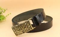 belt vintage plate buckle cowhide designer strap genuien leather belts for women black,orange red coffee four color