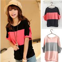 Women's Casual Cotton T-shirts 2014 Low Price Korean Women's Loose Short sleeved 100% Cotton bat Shirt Ladies T-shirt