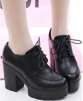 New Fashion England Retro Style Ladies High Heel Shoes Woman Platforms Pumps Free Shipping