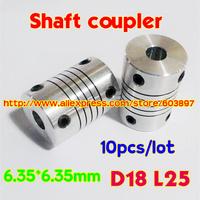 10pcs 6.35x6.35mm Coupler shaft couplings OD18mm*25mm 6.35*6.35mm flexible shaft 6.35mm 6.35mm for cnc parts stepper motor