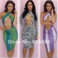 2014 New Style Slit Open Back Sexy Bandage Dress Bodycon Zebra Print Long-sleeve Party Evening Dresses for Women Clubwear