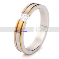 Wholesale Wedding Jewelry Valentine's day gift gold plated ring with zircon