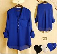 2014 Free Shipping Women Spring V-neck Chiffon elegant all-match solid botton casual spirals shirt blouse loose white blue black