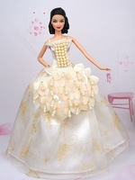 Free Shipping White pearl Dress Clothes of Barbie Doll