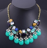 2014 New Arrival Gold Chain Candy Color Resin Ribbon Bib Statement Chunky Necklaces Mixed Colors