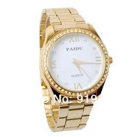 Silver Black PAIDU Quartz Wrist Watch Golden Rhinestone Dial Mens Women Clock Hours Gift,free shipping
