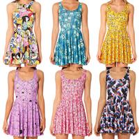 Hot 2014 Fashion 3D  Small Floral Print Digital Two-Way Singlet Dress Adventure Time Bro Ball Reversible Skater Sleeveless