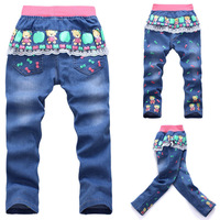 Retail!! free shipping 2-5years old 2014 cartoon style children Fashion pink baby girls jeans kids trousers baby wear