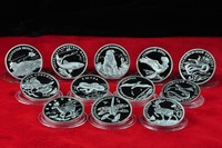 2006~2010 Free Shipping Russia Endangered wildlife Animals Red Book  Silver Coins
