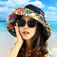 2014 direct selling time-limited freeshipping hat summer folding women's sunbonnet big sun along the cap beach anti-uv flower