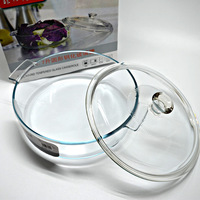 free shipping Tempered glass bowl heatproof 400degree can be in microwave oven,  transparent glass bowl with lid Large