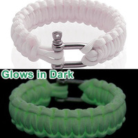 2014 new 9 strands glow in the dark with stainless steel buckle paracord bracelet free shipping