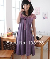 New summer fashion bow detail short sleeve dress for pregnant women free shipping a9063