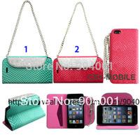 Bling Diamond Handbag style Luxury leather case for iPhone 4G/iphone 5s Glitter leather case for girls