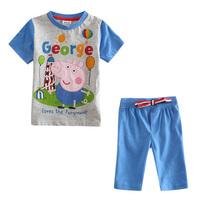 Retail 2014 new NOVA kids boy clothing set printed peppa pig letter spring autumn short sleeve shorts causal boy sets CD4743