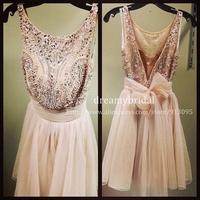 New Fashion Real Made Full Luxury Beaded Sexy Short prom dresses 2014 Party Dresses Custom Made Vestido De Festa Free Shipping