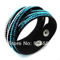 shinning rhinestone multi layer wrap leather crystal slake bracelet
