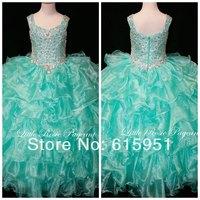 2014 Hot Sale Girls Pageant Dress Floor Length Ball Gown Formal Pageant Gown Beaded Tiered Organza Flower Girls Dress FD016