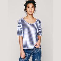 2014 New Navy blue short-sleeved white stripe broad shoulders loose women T-shirt back cross strap Free Shipping Fashion O
