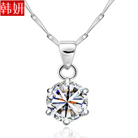 sparkling hearts and arrows cubic zircon silver women necklace 925 pure silver necklace