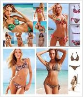 Boho Style Print Bikinis Set Vintage Pad Inside Swimwear Women Push Up Bikini Sexy Leopard Swimsuit New 2014 Brand Bathing Suit