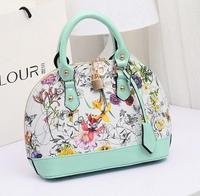 colored drawing oil painting flower women's doodle handbag fashion vintage shoulder bag messenger bag, leather bag KL128
