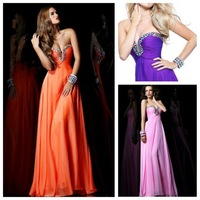 Hot A-line Sweetheart Sleeveless Floor Length Chiffon Orange Purple Pink Beaded Long Women Evening Prom Dresses Prom Gown