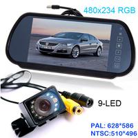 "HD 7"" LCD car Mirror Monitor parking sensor DVD/VCD/GPS/TV Screen + 10 LED waterproof short car rear view Camera Night Vision"