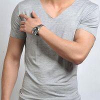 High Quality Hot Men's Large Size T-shirt Short Sleeve V-Neck Cotton T-shirts Tops XL-6XL