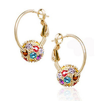 Ball circle crystal earrings accessories 14k gold earring female