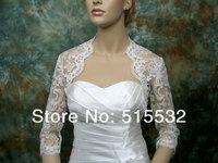 High Quality Half Sleeves White/ Ivory Lace Applique Custom Made Plus Size Wedding Bridal Bolero Wrap Shawl Bridal Jacket 2014