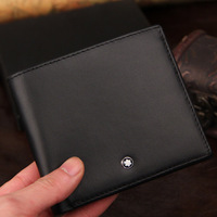 New Arrival+1pcs/lot original design Men's Classic Black Wallet ,luxurious classic standard Genuine Leather purse for men