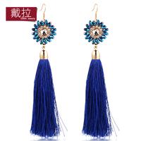 Wholesale vintage luxury acrylic blue tassel statement gold brand big long dangle drop earrings for women TE348
