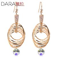 Popular fashion gold full rhinestone Multi-turn big circle drop earrings  TE188