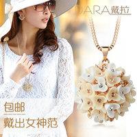 rhinestone cutout flower bouquet crystal fashion necklace long necklace TN168