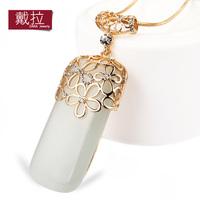 Fashion jewelry Cute big opal owl pendant necklace long chain necklaces 2014 women TN170