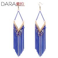luxury blue earrings Fashion Rhinestone Tassel Dangle earrings High quality ! Fashion drop Earrings for women 2014 TE096
